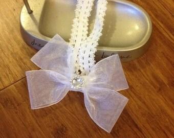 White Baby Headband, white rhinestone hair bow. Fancy White Bow. 21