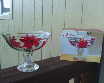 A Holiday Poinsettia Designed Compote, Crystal Clear.