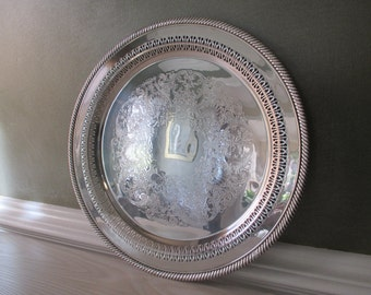 Vintage Silver Plate Tray ~ William Rogers Round Silverplate Tray