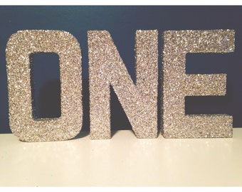 """ONE Glitter Letters - Birthday, Party Decoration - Silver Glitter - 8 or 12"""" Height"""