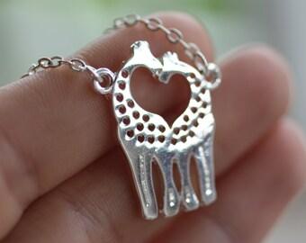 Silver GiraffeNecklace Bridesmaid Gift Wedding Gift Giraffe Jewelry Giraffe Charm Necklace Birthday Gift Giraffe Necklace HoneyBeeCharmed