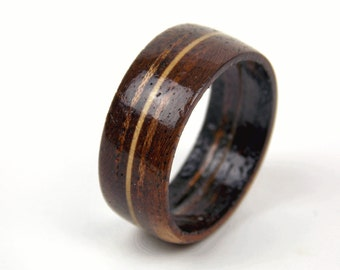 Wooden Mahogany Ring with a Maple Band