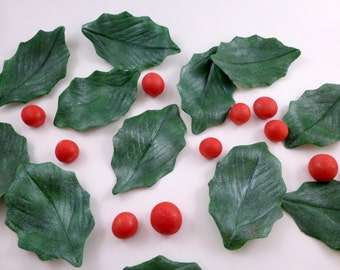 Large gumpaste holly leaves and berries, sugar Christmas cake decorations