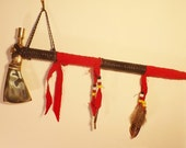 Tomahawk Pipe, Native American Style, leather wrapped, Crow beads, feathers, Pipe or Weapon, Working Pipe, Home Decor