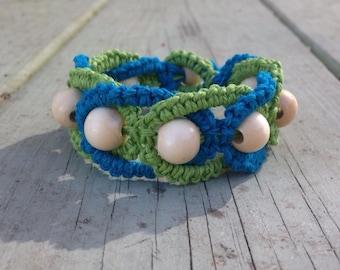Lime Green & Turquoise Macrame Bracelet
