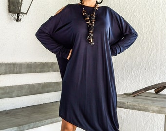 Blue Navy Asymmetric Dress - Blouse - Tunic / Plus Size Dress / Asymmetric Plus Size Dress-Blouse-Tunic / Oversize Dress / #35031