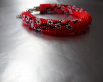 Cherry blossoms - Beaded bracelet - crocheted bracelet - red