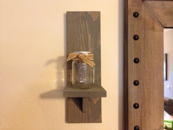 Rustic Wall Sconce Rustic Candle Holder Mason Jar by ...