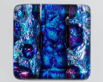 Dichroic Cabochon - Blue and Purple Dichroic Glass, Blue Dichroic Cabochon, Purple Dichroic Cabochon, Glass Cabochon