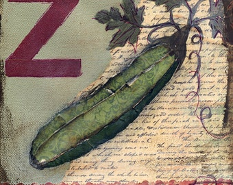 Zuchini Mixed Media - 6x6, 8x8 and 12x12 Print of Original