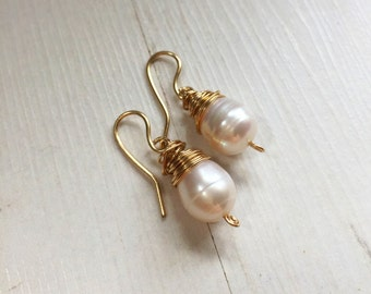 Gold Large Wrapped Freshwater Pearl Earrings