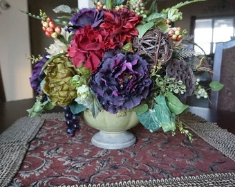 Tuscan Decor, Silk Flower Arrangement, Dining Table Centerpiece, Home Decor with Peonies Grapes