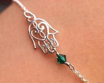FREE UK Shipping Personalised Sterling Silver Hamsa Hand Hand of Fatima Talisman Birthstone Bracelet Great Birthday/Seasonal Gift with Box