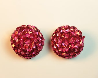 Ruby Red Sequin Cluster Earrings