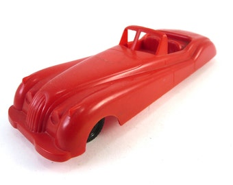 Vintage Wannatoy Red Plastic Jaguar XK120 Roadster Car Toy Made In U.S.A. XK 120 Convertible Matchbox