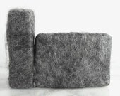 Handmade Felted Soap Charcoal Grey of Huacaya Alpaca Hand made bath soap sensitive skin