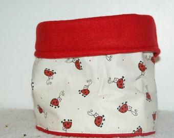 Snood /protege red and cotton fleece neck printed Ladybug.