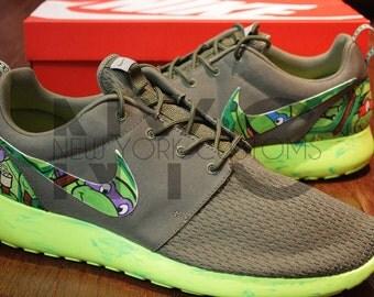 Nike Roshe Run Olive Green Marble Teenage Mutant Ninja