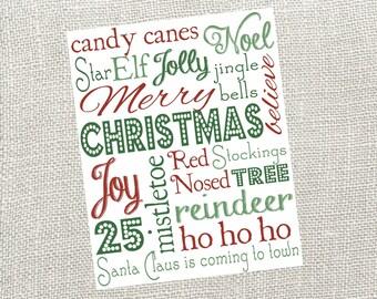 Christmas Subway Art Digital Sign. Size 8x10. Instant Digital Download.