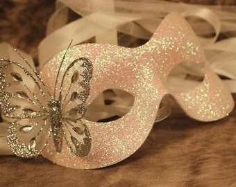 Fifty Shades of Silver Grey Mask Glitter Butterfly Masked Ball