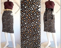 Incredible Vintage Yves Saint Laurent Skirt / Stars & YSL Logo throughout / Sexy High Waisted Pencil Skirt / 1980s Designer Runway Dress