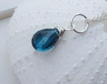 London Blue Topaz Pendant Necklace-   December birthstone, London blue topaz briolette, blue  topaz pendant, sterling silver, gold filled