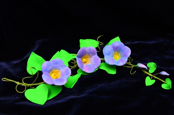 Morning Glory Gum Paste Sugar Flower Spray With Leaves