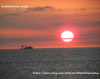 Shrimp Boat Sunset ~  Art~ Photographic Art~ Office Art~ Wall Art~ Unedited Photography~ Ft. Myers Beach~ Shrimp Boat~ Sunset