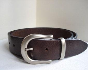 "Father's Day Gift - Mens Brown Leather Belt - 1"" 1/2 - Silver Buckle - Handmade In Uk - Brown Belt - Father Gift - Leather Belt - Mens Belt"
