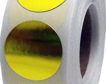 500 Metallic Gold Envelope Seal Dot Stickers - 0.75 Inch Round Adhesive Labels