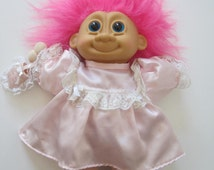 """RUSS TROLL Doll Size 11"""" Pink Hair Blue Eyes Rubber Face Vintage"""