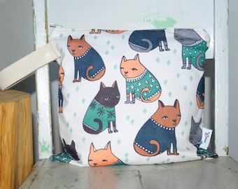 Wet Bag Sweater Cats in Green, Blue, Grey Waterproof Wet Bag Wetbag Swimsuit Bag Nappy Bag Procare