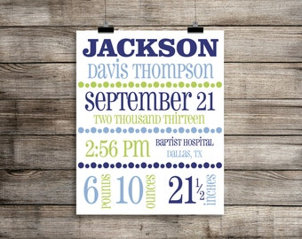 Birth Announcement Print - Nursery Art, CUSTOM - Baby Boy -  Name, Date, Weight, Length, Time and Place
