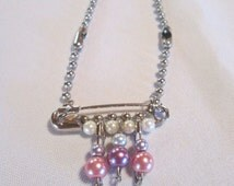 Pastel Punk Safety Pin Faux Pearl Necklace