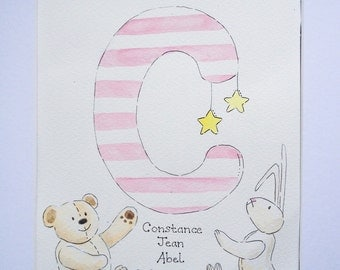 Child's initial watercolour keepsake painting