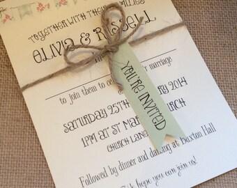 1 Rustic/Vintage/Shabby Chic Style wedding invitation stationery sample - Olivia Range