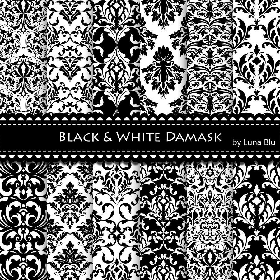 New Item added to my shop:Black Damask Digital Paper ...