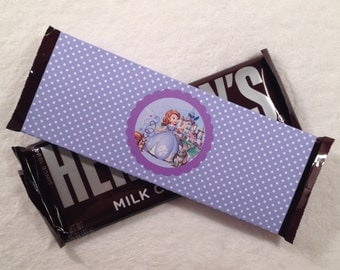 10 - Sofia the First Hershey Bar Lavender Polka Dot Candy Wrappers Birthday Party Favor