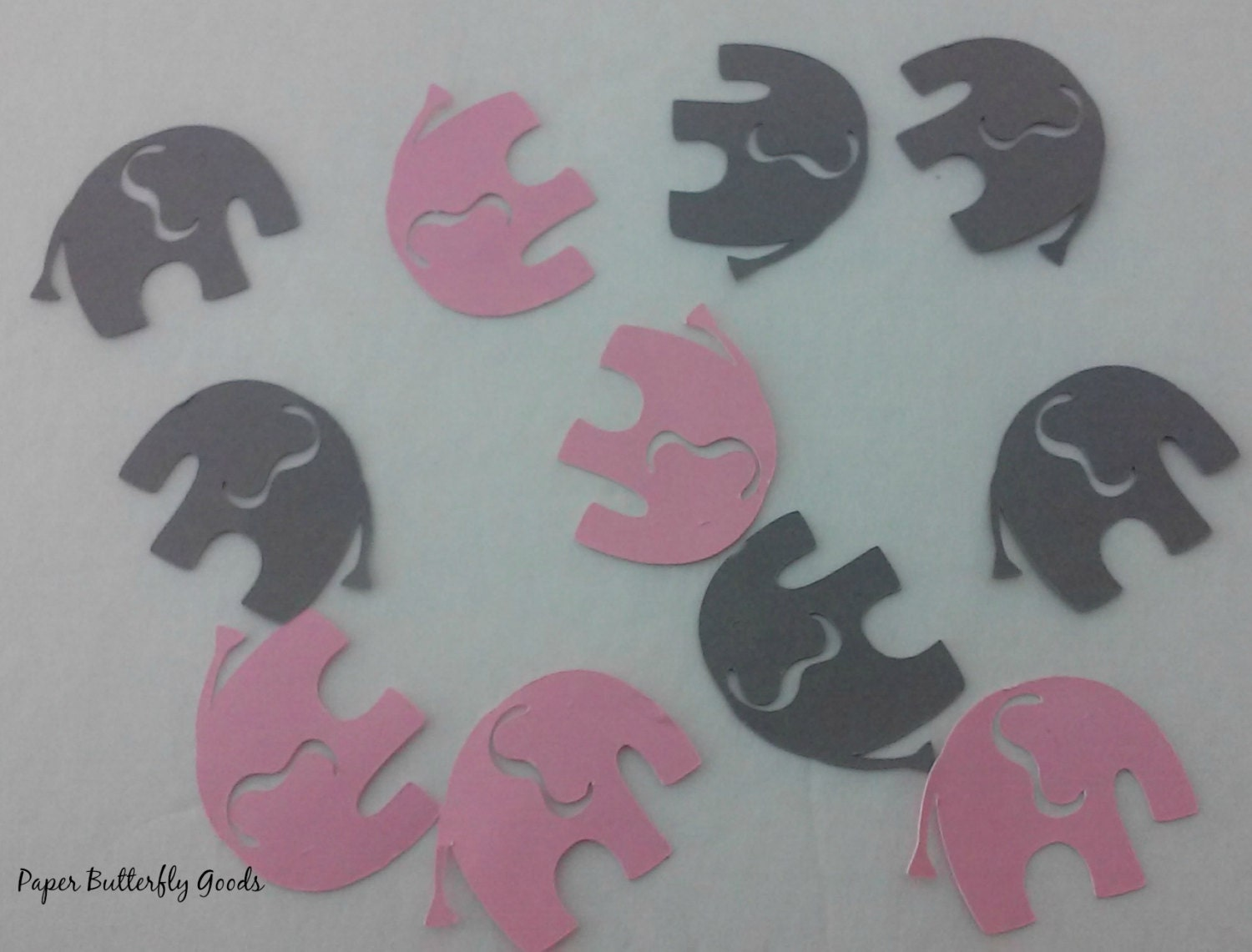 pink and gray elephant confetti baby shower confetti