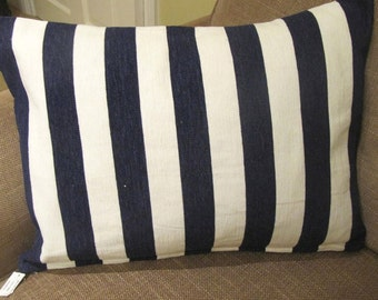 Navy Striped feather cushion
