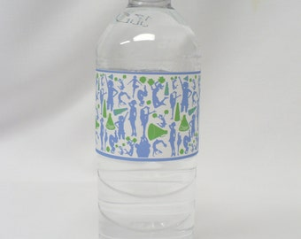 Lime Green & Blue Cheer Silhouettes Water Bottle Labels--Will Customize With Your Team Colors