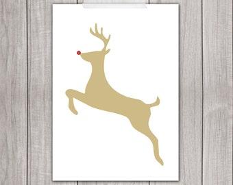 75% OFF SALE - Christmas Art Print - 5x7 Rudolph the Red Nosed Reindeer, Deer Art Print, Animal Silhouette, Printable Art, Home Decor