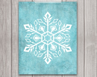 75% OFF SALE - Snowflake Art Print - 8x10 Printable Christmas, Holiday Art Print, Holiday Wall Art, Christmas Decor, Holiday Decor