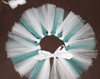 Teal and White Tutu with Matching Headband