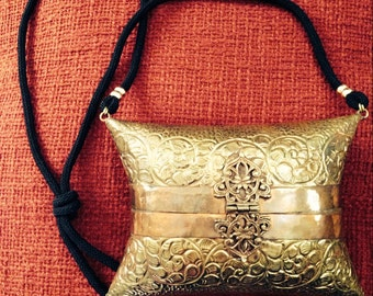 Vintage Embossed Brass Purse
