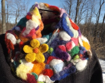 Hand felted capelet- Bold and Happy!