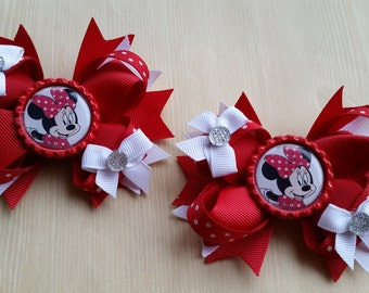 Minnie Mouse red & white hair bows. Set of 2. Perfect for piggy tails :)