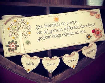 Bespoke/personalised 'like branches on a tree...' handmade, wooden family plaque with FOUR HEARTS