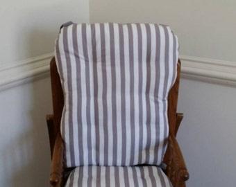 Modern Gray Stripe High Chair Cushions, High Chair Pads, High Chair Cover, Highchair Pads, Wooden Highchair Pads