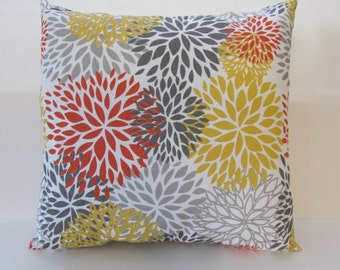 Outdoor Blooms Citrus Accent Pillow Cover, Orange, Yellow and Gray Pillow Cover